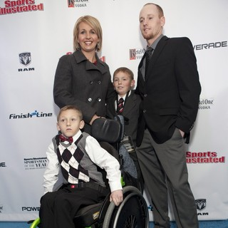 Cayden Long, Jenny Long, Conner Long, Jeff Long in 2012 Sports Illustrated Sportsman of The Year Award Presentation