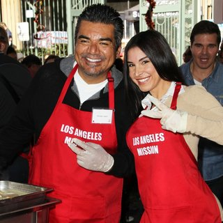 George Lopez, Mayra Veronica in 2014 LA Mission's Annual Thanksgiving for The Homeless