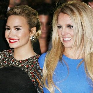 Demi Lovato, Britney Spears in The X Factor Season Two Premiere Screening and Handprint Ceremony