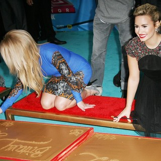 Britney Spears, Demi Lovato in The X Factor Season Two Premiere Screening and Handprint Ceremony