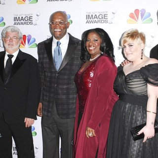 Mellody Hobson, George Lucas, Samuel L. Jackson, LaTanya Richardson, Katie Lucas in The 43rd Annual NAACP Awards - Arrivals