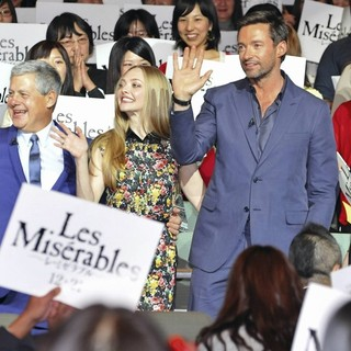 Cameron Mackintosh, Amanda Seyfried, Hugh Jackman, Anne Hathaway in The Japan Premiere of Les Miserables