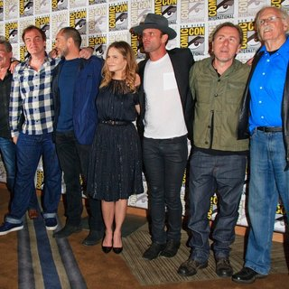 Michael Madsen, Kurt Russell, Quentin Tarantino, Demian Bichir, Jennifer Jason Leigh, Walton Goggins, Tim Roth, Bruce Dern in San Diego Comic-Con International 2015 - The Hateful Eight - Press Room