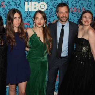 Jennifer Konner, Zosia Mamet, Jemima Kirke, Judd Apatow, Lena Dunham, Allison Williams in The New York Premiere of HBO's Girls