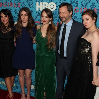 Ilene S. Landress, Jennifer Konner, Zosia Mamet, Jemima Kirke, Judd Apatow, Lena Dunham, Allison Williams in The New York Premiere of HBO's Girls
