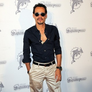 Marc Anthony in The Miami Dolphins vs The New England Patriots NFL Monday Night Football Game - Arrivals