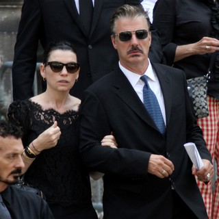 Julianna Margulies, Chris Noth in The Funeral Service for Actor James Gandolfini