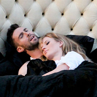 "Adam Levine, Anne Vyalitsyna in Shooting Scenes for Maroon 5's Upcoming Music Video ""Never Gonna Leave This Bed"""