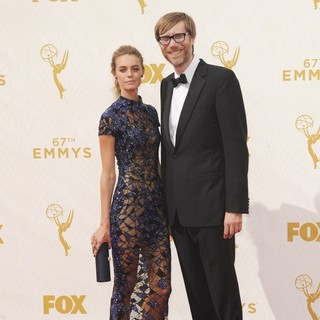 Christine Marzano, Stephen Merchant in 67th Primetime Emmy Awards - Red Carpet