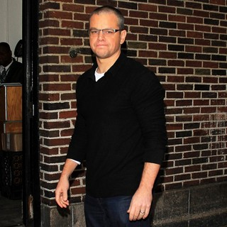Matt Damon in Celebrities Arrive at The Ed Sullivan Theater for The Late Show with David Letterman