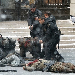 Matthew Modine in The Batman Movie Set of The Dark Knight Rises