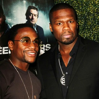 Floyd Mayweather, Jr., 50 Cent in The Lionsgate Home Entertainment and Grindstone VIP Screening of Freelancers