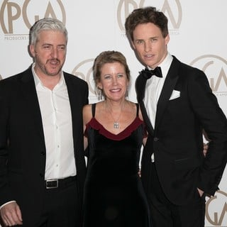 Anthony McCarten, Lisa Bruce, Eddie Redmayne in 26th Annual Producers Guild of America Awards - Arrivals