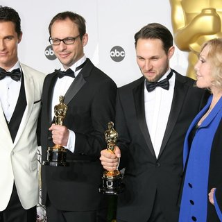 Matthew McConaughey, Laurent Witz, Alexandre Espigares, Kim Novak in The 86th Annual Oscars - Press Room