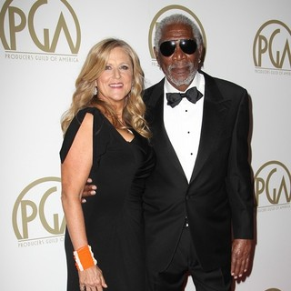 Lori McCreary, Morgan Freeman in The 25th Annual Producer Guild of America Awards - Arrivals
