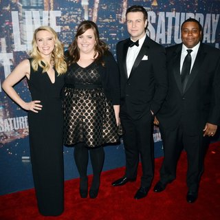 Kate McKinnon, Aidy Bryant, Taran Killam, Kenan Thompson in Saturday Night Live 40th Anniversary Special - Red Carpet Arrivals