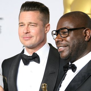 Brad Pitt, Steve McQueen in The 86th Annual Oscars - Press Room