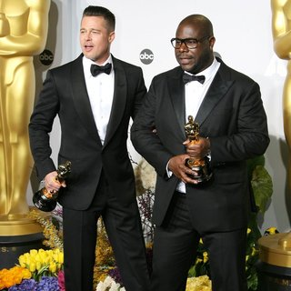 Steve McQueen, Brad Pitt in The 86th Annual Oscars - Press Room