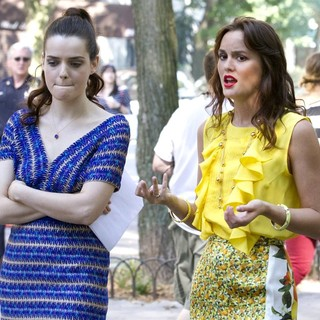 Roxane Mesquida, Leighton Meester in The First Day of Shooting The New Season of Gossip Girl