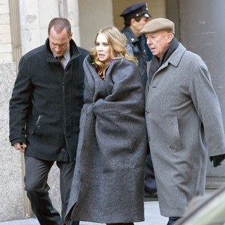 Christopher Meloni, Dann Florek in The Film Set of Law and Order: Special Victims Unit