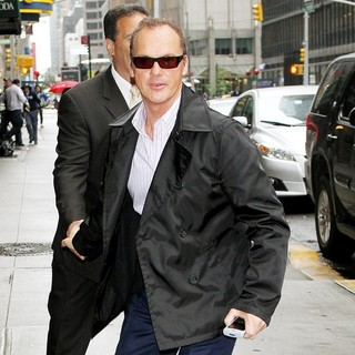Michael Keaton in Michael Keaton Outside Ed Sullivan Theatre for The Late Show with David Letterman