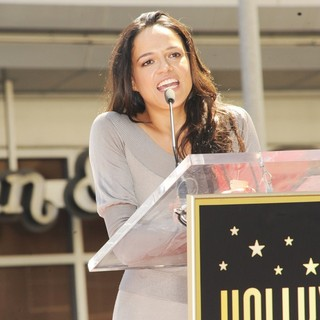Michelle Rodriguez in Vin Diesel Honored on The Hollywood Walk of Fame