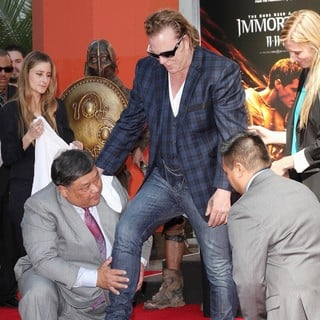 Mickey Rourke in Mickey Rourke Is Honoured with A Hand and Footprint Ceremony