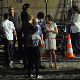 Woody Allen, Marion Cotillard, Owen Wilson in On The Set of The New Film 'Midnight in Paris' on The Dock of Seine