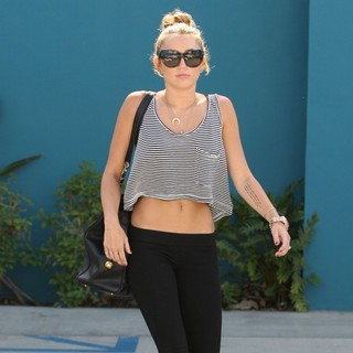 Miley Cyrus in Miley Cyrus Seen Leaving The Winsor Pilates Class