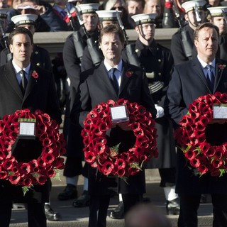 Ed Miliband, Nick Clegg, John Major in Sunday Commemorating Sacrifices of The Armed Forces