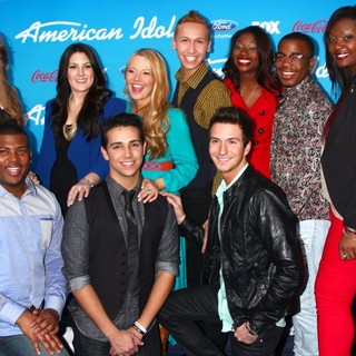Angie Miller, Kree Harrison, Janelle Arthur, Devin Velez, Amber Holcomb, Burnell Taylor, Candice Glover, Curtis Finch Jr., Lazaro Arbos, Paul Jolley in FOX's American Idol Finalists Party
