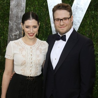 Lauren Miller, Seth Rogen in 2013 Vanity Fair Oscar Party - Arrivals