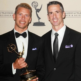Terry Miller, Dan Savage in 2012 Creative Arts Emmy Awards - Press Room