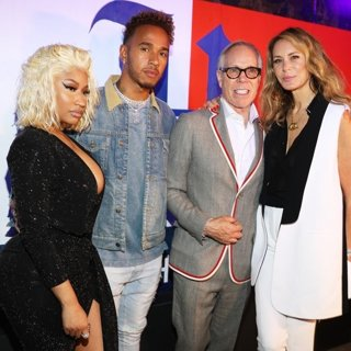 Nicki Minaj, Lewis Hamilton, Tommy Hilfiger, Dee Ocleppo in The Launch of TommyXLewis