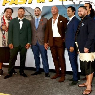 Kelemete Misipeka, Josh Mauga, Roman Reigns, The Rock, Cliff Curtis, John Tui in Fast and Furious Presents: Hobbs and Shaw Premiere