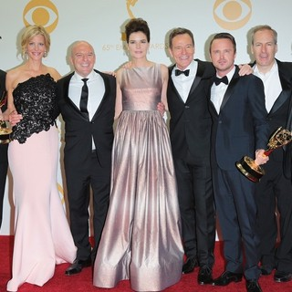 RJ Mitte, Anna Gunn, Dean Norris, Betsy Brandt, Bryan Cranston, Aaron Paul, Bob Odenkirk, Jonathan Banks in 65th Annual Primetime Emmy Awards - Press Room