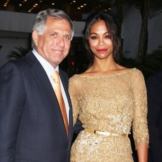 Leslie Moonves, Zoe Saldana in The Premiere of CBS Films' The Words - Red Carpet