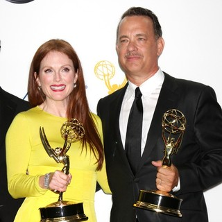 Julianne Moore, Tom Hanks in 64th Annual Primetime Emmy Awards - Press Room