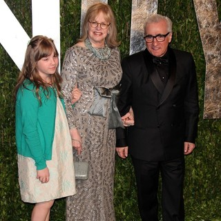 Francesca Scorsese, Helen Morris, Martin Scorsese in 2012 Vanity Fair Oscar Party - Arrivals