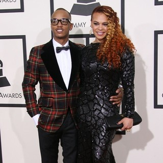 PJ Morton, Faith Evans in The 56th Annual GRAMMY Awards - Arrivals