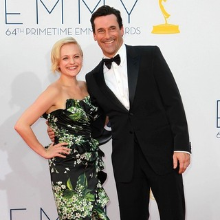 Elisabeth Moss, Jon Hamm in 64th Annual Primetime Emmy Awards - Arrivals