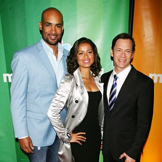 Boris Kadjoe, Gugu Mbatha-Raw, Jeff Gaspin in 2010 NBC Upfront Presentation