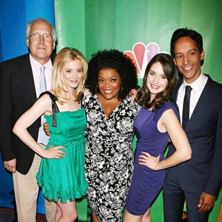 Chevy Chase, Yvette Nicole Brown, Gillian Jacobs, Alison Brie in 2010 NBC Upfront Presentation