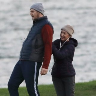 Liam Neeson and Lesley Manville Filming Normal People