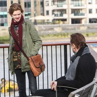 Thomas Sangster, Liam Neeson-Filming Love Actually