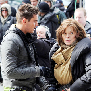 Zac Efron, Michelle Pfeiffer in On The Set of New Film 'New Year's Eve'