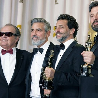 Jack Nicholson, George Clooney, Grant Heslov, Ben Affleck in The 85th Annual Oscars - Press Room