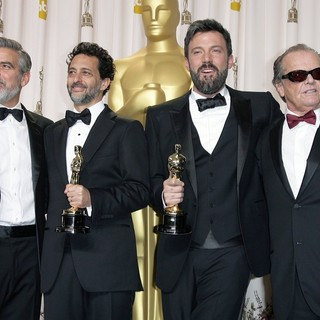 George Clooney, Grant Heslov, Ben Affleck, Jack Nicholson in The 85th Annual Oscars - Press Room