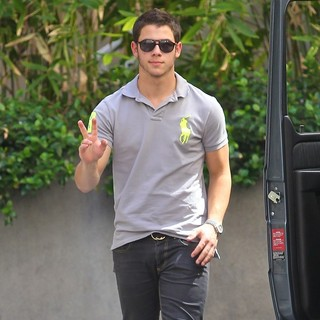 Nick Jonas, Jonas Brothers in Jonas Brothers Seen Exiting A Restaurant