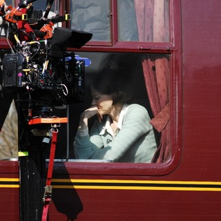 Nicole Kidman Filming A Train Scene from The Movie The Railway Man